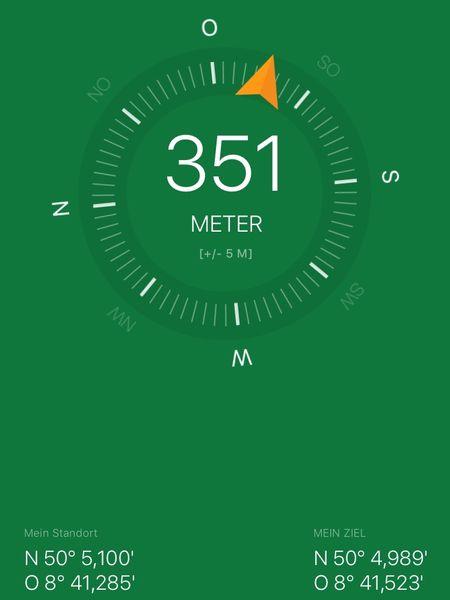 Kompass einer Geocaching-App