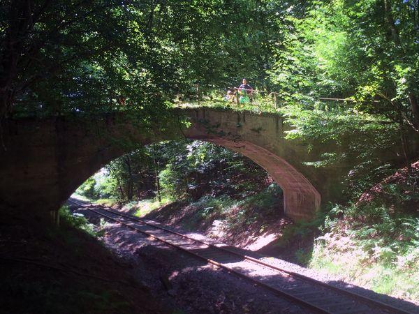 Bogenbrücke über die Bahnschienen der Kasbachtalbahn