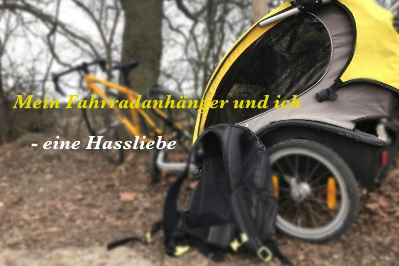 Radtouren mit Kindern - Träume und Wirklichkeiten, Fahrrad mit Fahrradanhänger am Waldrand